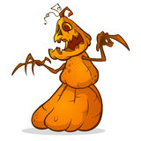 Halloween scarecrow with pumpkin head. Vector cartoon pumpkin monster with smiling expression isolated on white Stock Images