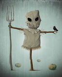 Halloween scarecrow. Scarecrow and pumpkins for halloween creepy night Royalty Free Stock Image