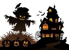 Halloween scarecrow silhouette theme 3 vector illustration
