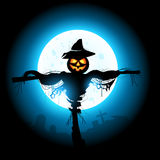 Halloween Scarecrow. A halloween Scarecrow silhouetted by the moon Stock Photos