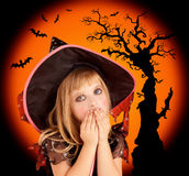 Halloween scared blond kid girl Royalty Free Stock Images