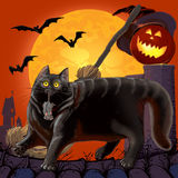 Halloween Scared Cat and  Mouse with Pumpkin. Raster illustration Stock Photo