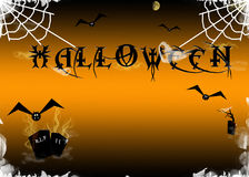 Halloween. Scary Halloween background with combs and creatures Stock Photo