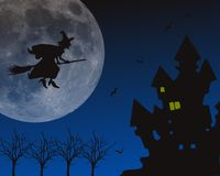 Halloween scary background. Halloween scary night background with castle, trees, witch and birds and moon Stock Photography
