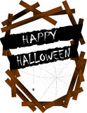 Halloween scary banner and wood Stock Photos