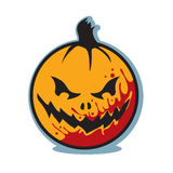 Halloween scary bloody jack o lantern pumpkin. This is a scary, evil Halloween jack o lantern. The pumpkin is orange with red splattered blood across the face Royalty Free Stock Photos
