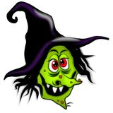 Halloween Scary Cartoon Witch. A clip art illustration of a scary halloween witch with tall black hat, green skin with brown warts, crooked nose, red eyes and stock illustration