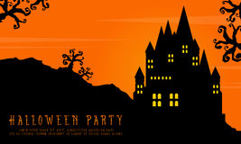 Halloween with scary castle landscape background Stock Images