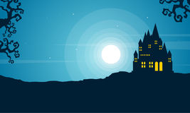 Halloween with scary castle landscape Stock Image