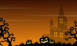 Halloween scary castle and pumpkin landscape Royalty Free Stock Images