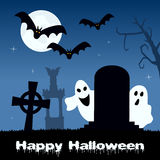 Halloween Scary Cemetery, Ghosts & Bats Stock Photography