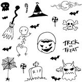 Halloween scary in doodle set Royalty Free Stock Photo