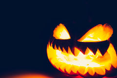 Halloween scary face pumpkin ( Filtered image processed vintage Royalty Free Stock Image