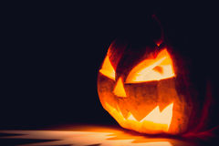 Halloween scary face pumpkin ( Filtered image processed vintage Stock Photography