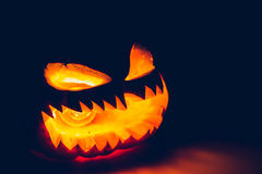 Halloween scary face pumpkin ( Filtered image processed vintage Royalty Free Stock Photography