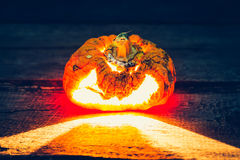 Halloween scary face pumpkin ( Filtered image processed vintage Royalty Free Stock Photo