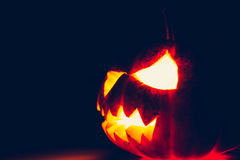 Halloween scary face pumpkin ( Filtered image processed vintage Stock Photo
