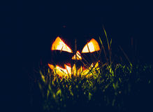 Halloween scary face pumpkin ( Filtered image processed vintage Royalty Free Stock Photos