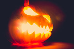 Halloween scary face pumpkin ( Filtered image processed vintage Stock Photos