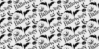 Halloween scary faces seamless background. Vector Illustration Royalty Free Stock Image