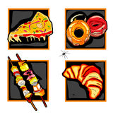 Halloween scary fast food icons. Halloween set of scary icons with fast food odd meals, donuts, skewers and spider, isolated on white Royalty Free Stock Photography
