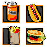 Halloween scary fast food meal icons Stock Image