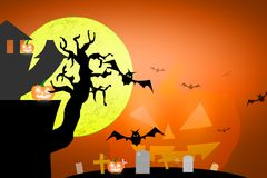 Halloween scary full moon and dead tree together with a horror b Royalty Free Stock Photo
