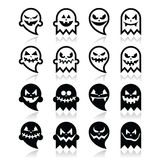 Halloween scary ghost  black icons set Stock Photo