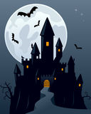 Halloween Scary Ghost Castle. Halloween night scene with the moon and a spooky ghost castle. Eps file available royalty free illustration