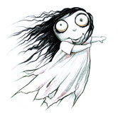 Halloween scary ghost girl. Pencil drawn illustration of a Halloween scary ghost girl Royalty Free Stock Photo