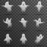 Halloween white scary ghost isolated template transparent night background vector illustration. Halloween scary ghost isolated template transparent night stock illustration