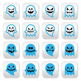 Halloween scary ghost, spirit  buttons set Stock Photos