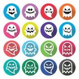 Halloween scary ghost, spirit flat design icons set Stock Photo