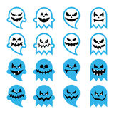 Halloween scary ghost, spirit  icons set Stock Images