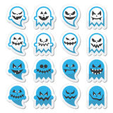 Halloween scary ghost, spirit  icons set Royalty Free Stock Image