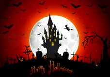 Halloween scary house on full moon background Royalty Free Stock Images