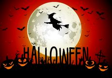 Halloween scary house on full moon background Royalty Free Stock Photography