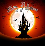 Halloween scary house on full moon background Stock Images