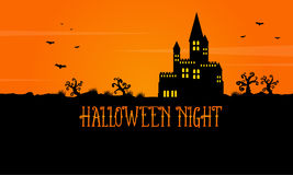 Halloween scary landscape with castle Stock Images