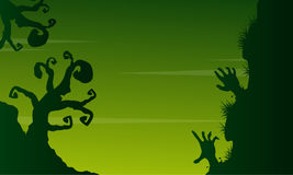 Halloween scary landscape on green background Stock Photo