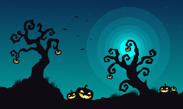 Halloween scary landscape at night. Vector illustration Royalty Free Stock Photos