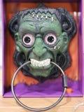 Halloween scary mask. Halloween scary frightening green mask stock photos