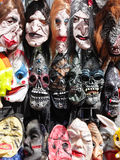Halloween scary masks. In street shop Royalty Free Stock Photos