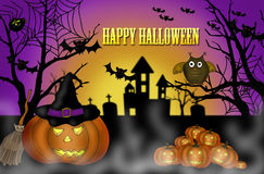 Halloween scary night background. Illustration of halloween scary night background with pumpkin lanterns ,bats and owl Royalty Free Stock Photos