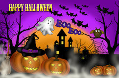 Halloween scary night background. Illustration of halloween scary night background with pumpkin lanterns and ghost Stock Images
