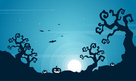 Halloween scary at night landscape. Vector illustration Royalty Free Stock Photos