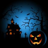 Halloween scary night poster with castle and grinning pumpkin. Vector eps 10 Royalty Free Stock Photo