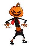 Halloween scary orange yellow cartoon  pumpkin scarecrow. Vector illustration. Stock Photo