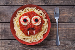 Halloween scary pasta food vampire face with big Royalty Free Stock Images