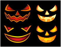 Halloween scary pumpkin face vector illustration set, Jack O Lantern smile isolated on black background. Scary orange picture with Royalty Free Stock Images